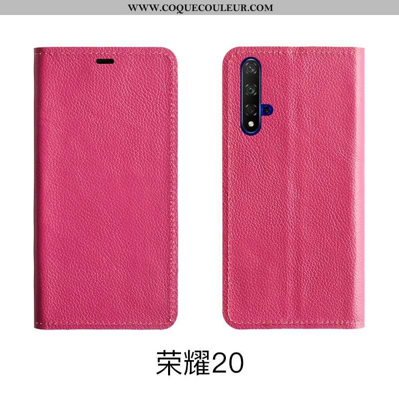 Étui Honor 20 Protection Téléphone Portable Tout Compris, Coque Honor 20 Cuir Véritable Cuir Rose