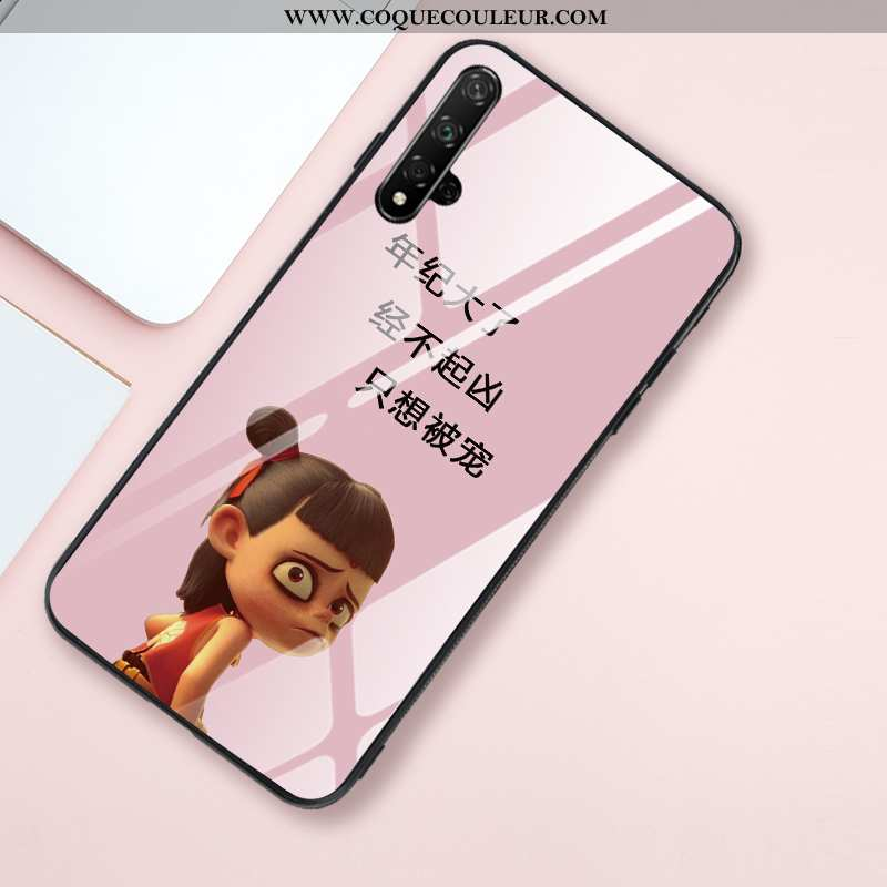 Coque Honor 20 Fluide Doux Verre Miroir, Housse Honor 20 Silicone Style Chinois Rose
