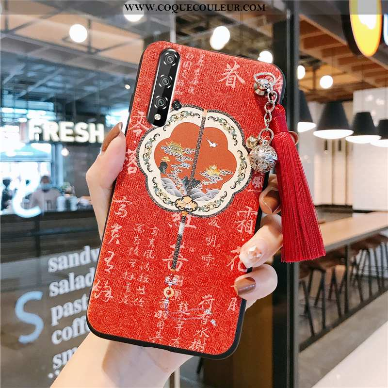 Housse Honor 20 Protection Vent Téléphone Portable, Étui Honor 20 Vintage Rouge