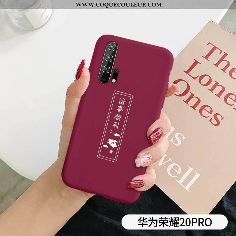 Coque Honor 20 Pro Tendance Simple Net Rouge, Housse Honor 20 Pro Légère Téléphone Portable Rouge