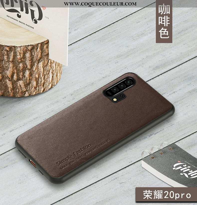 Étui Honor 20 Pro Fluide Doux Bovins Marron, Coque Honor 20 Pro Protection Téléphone Portable Marron