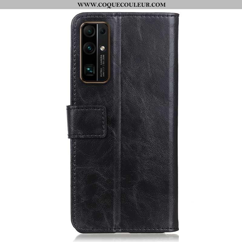 Coque Honor 30 Protection Noir Incassable, Housse Honor 30 Cuir Véritable Téléphone Portable