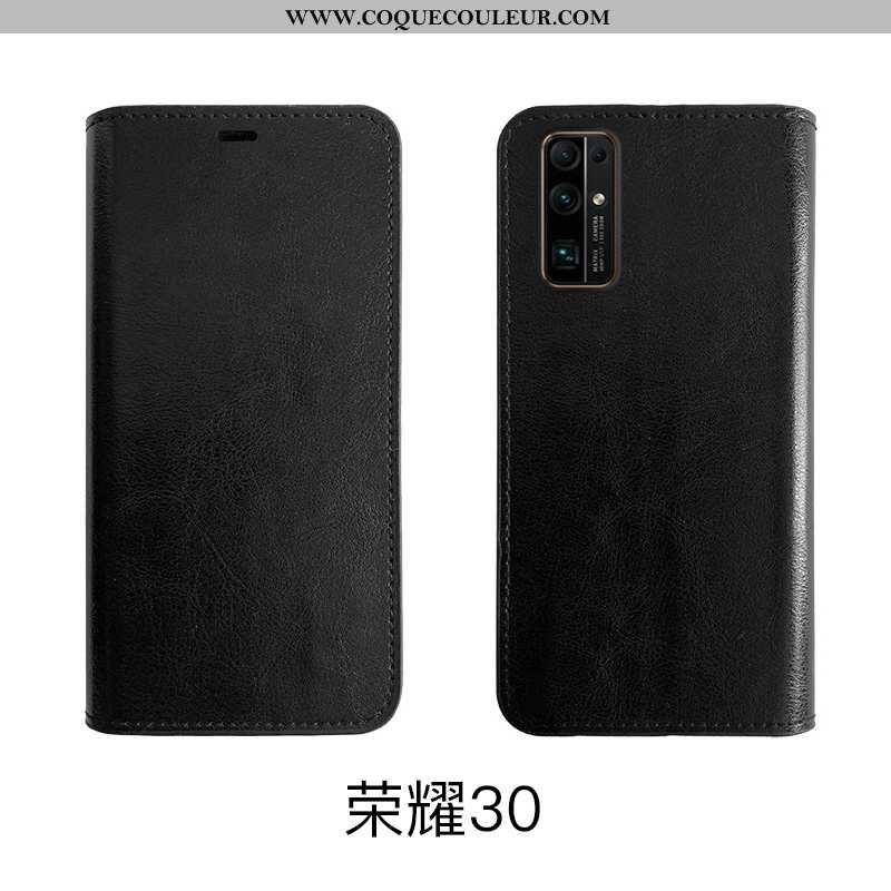 Étui Honor 30 Fluide Doux Noir Téléphone Portable, Coque Honor 30 Protection Cuir Véritable
