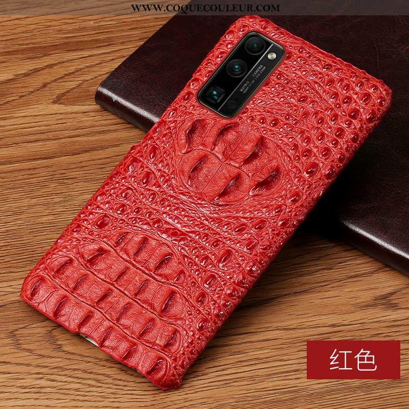 Housse Honor 30 Pro Cuir Véritable Rouge Cuir Haut, Étui Honor 30 Pro Cuir Téléphone Portable