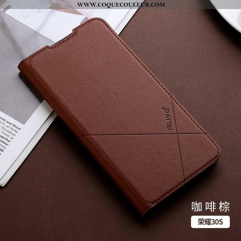 Étui Honor 30s Fluide Doux Téléphone Portable Marron, Coque Honor 30s Silicone Cuir Marron