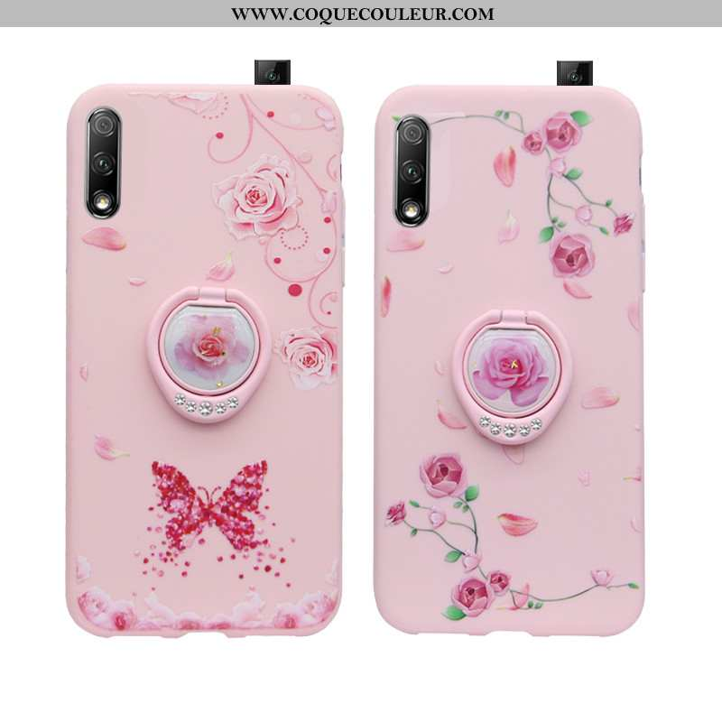 Coque Honor 9x Protection Rose, Housse Honor 9x Strass Support Rose