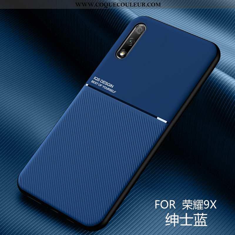 Housse Honor 9x Cuir Ultra Coque, Étui Honor 9x Modèle Fleurie Bleu Foncé