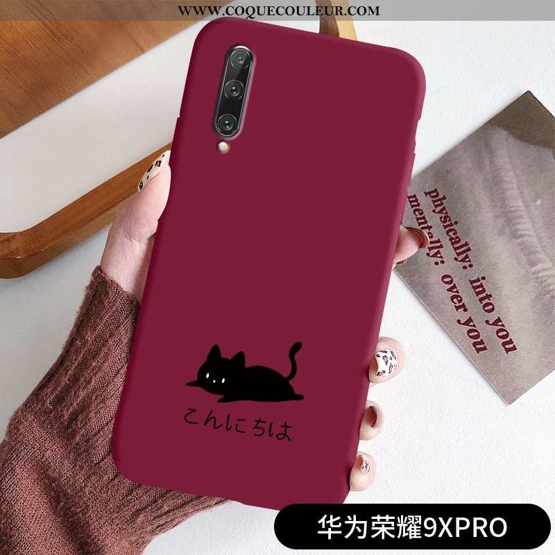 Étui Honor 9x Pro Fluide Doux Tout Compris Incassable, Coque Honor 9x Pro Silicone Noir Rouge