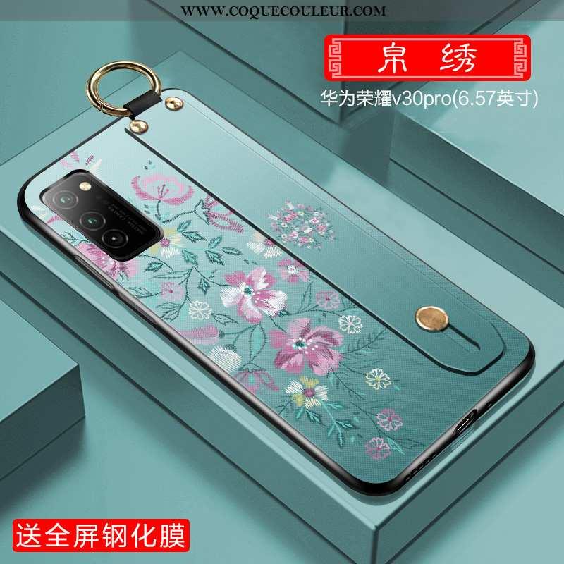 Housse Honor View30 Pro Ultra Coque Tout Compris, Étui Honor View30 Pro Légère Style Chinois Verte