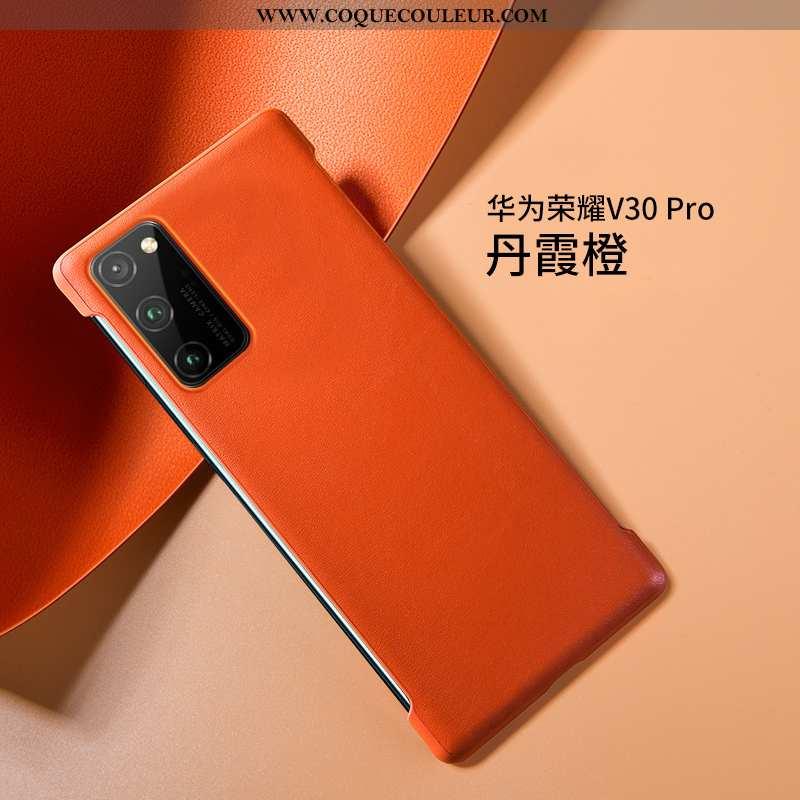 Étui Honor View30 Pro Ultra Cuir Bovins, Coque Honor View30 Pro Légère Luxe Orange