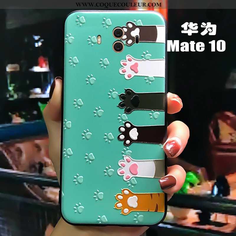 Étui Huawei Mate 10 Fluide Doux Créatif Cœur, Coque Huawei Mate 10 Silicone Légère Verte