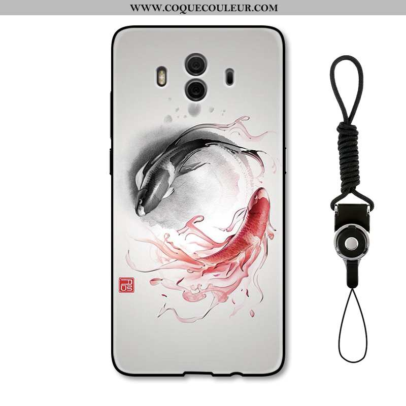 Housse Huawei Mate 10 Gaufrage Style Chinois Étui, Étui Huawei Mate 10 Protection Coque Beige