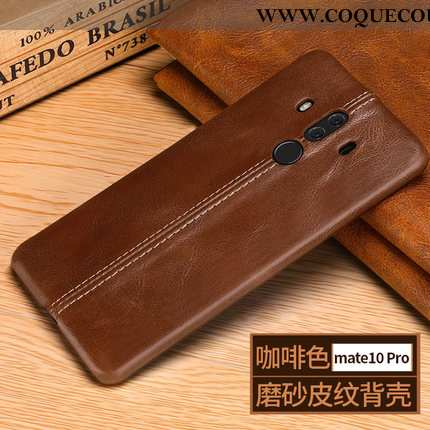 Coque Huawei Mate 10 Pro Cuir Véritable Protection Marron, Housse Huawei Mate 10 Pro Tendance Délavé