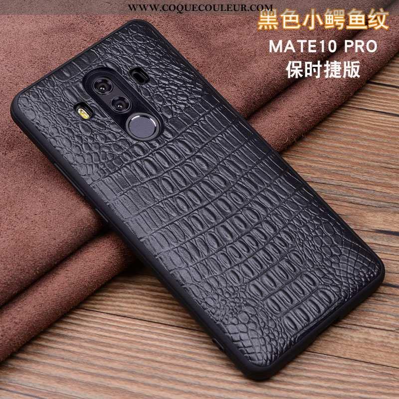 Housse Huawei Mate 10 Pro Cuir Téléphone Portable Véritable, Étui Huawei Mate 10 Pro Protection Noir
