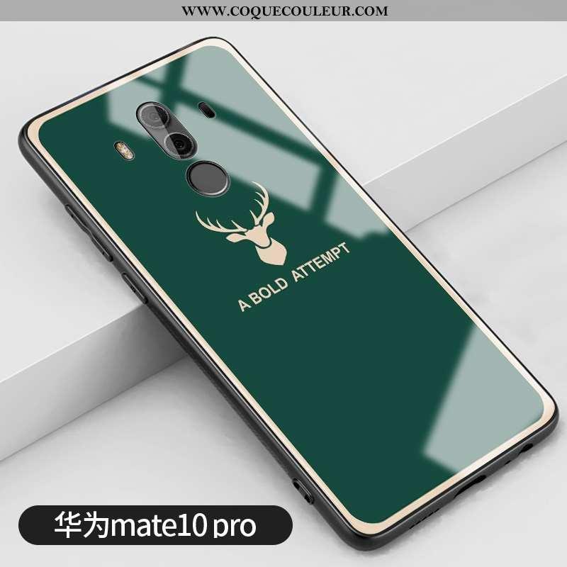 Housse Huawei Mate 10 Pro Protection Clair Silicone, Étui Huawei Mate 10 Pro Verre Petit Verte