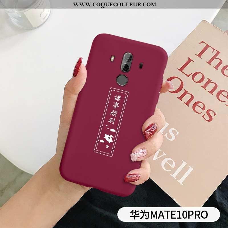 Housse Huawei Mate 10 Pro Légère Ultra Étui, Étui Huawei Mate 10 Pro Fluide Doux Coque Rouge