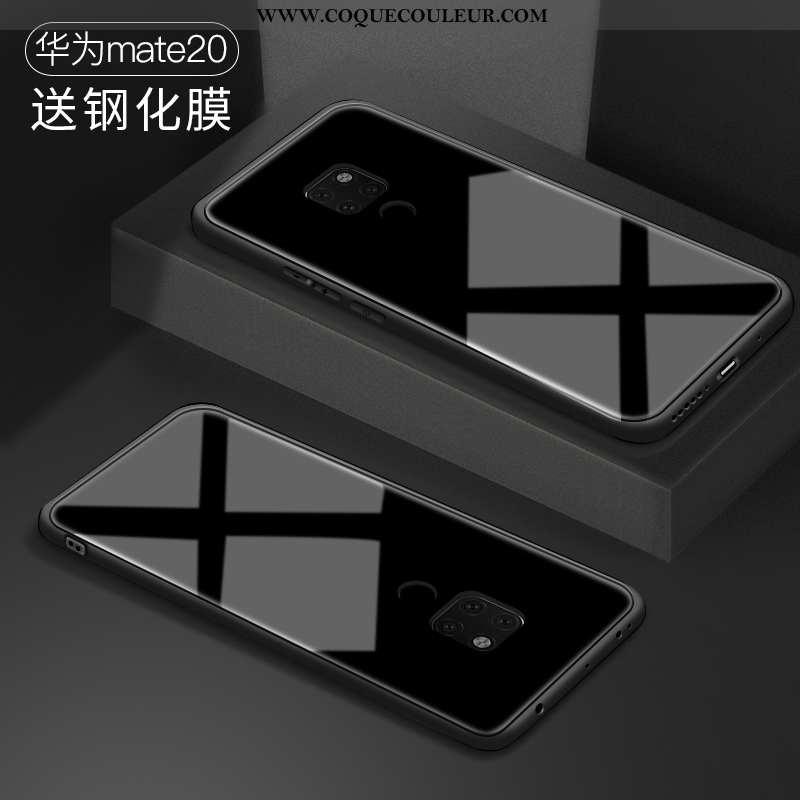 Coque Huawei Mate 20 Verre Tout Compris Amoureux, Housse Huawei Mate 20 Personnalité Légère Noir