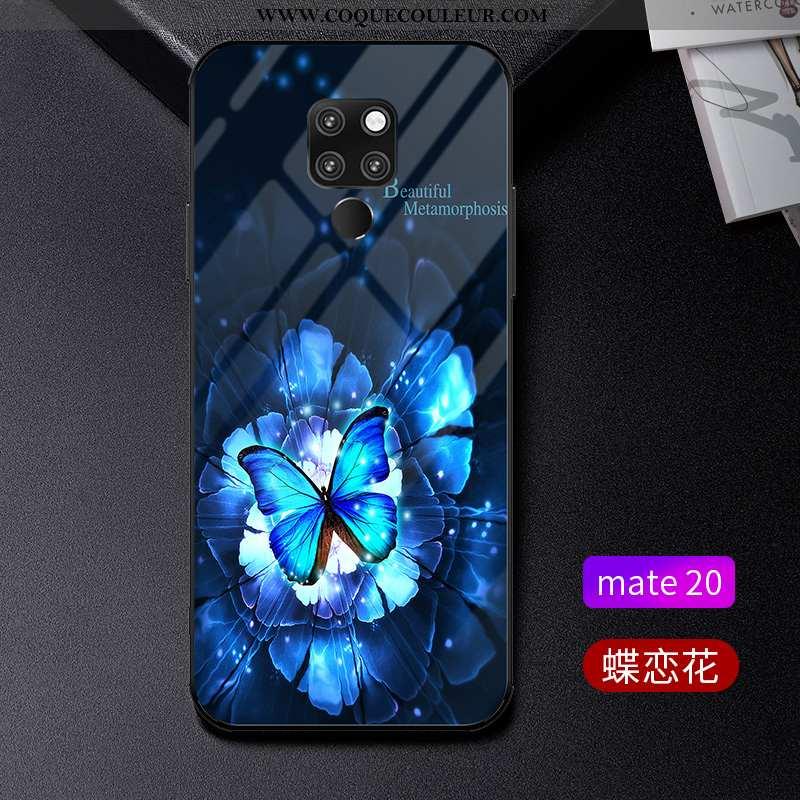Étui Huawei Mate 20 Tendance Téléphone Portable Verre, Coque Huawei Mate 20 Légère Protection Bleu