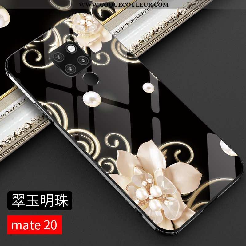 Étui Huawei Mate 20 Verre Protection Noir, Coque Huawei Mate 20 Personnalité Tout Compris Noir