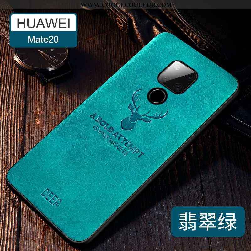 Étui Huawei Mate 20 Silicone Cuir Incassable, Coque Huawei Mate 20 Protection Tendance Verte