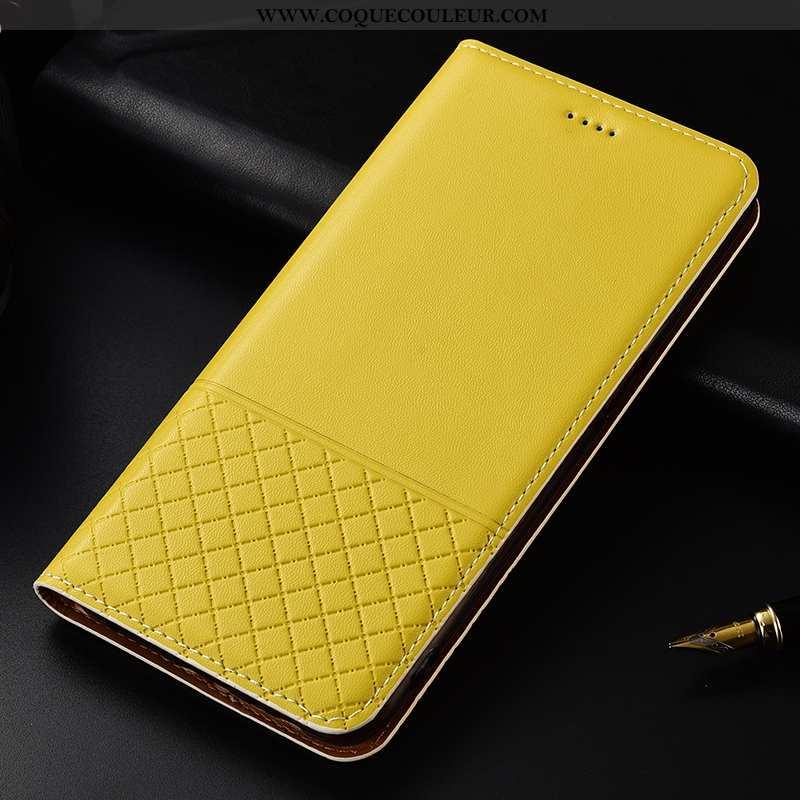 Housse Huawei Mate 20 Lite Cuir Véritable Jaune, Étui Huawei Mate 20 Lite Protection Coque Jaune