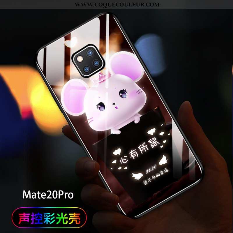 Étui Huawei Mate 20 Pro Tendance Noir Incassable, Coque Huawei Mate 20 Pro Verre Amoureux