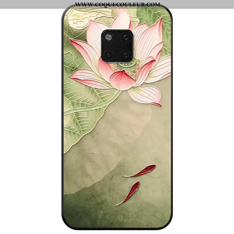 Étui Huawei Mate 20 Pro Mode Fleur Étui, Coque Huawei Mate 20 Pro Protection Vent Verte