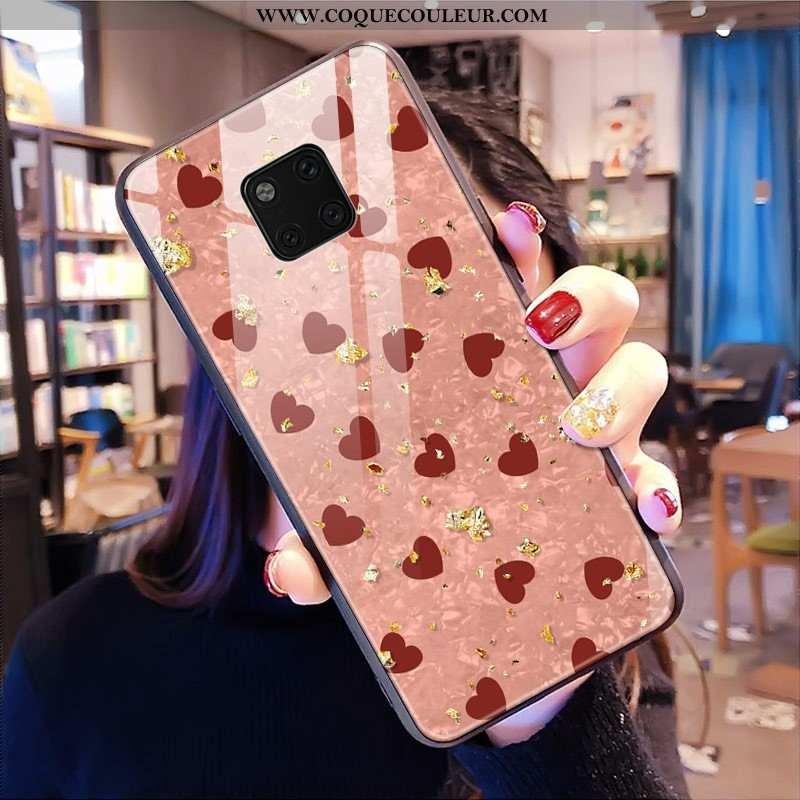 Coque Huawei Mate 20 Pro Mode Téléphone Portable Étui, Housse Huawei Mate 20 Pro Verre Rose