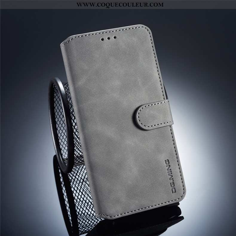 Coque Huawei Mate 20 Pro Cuir Clamshell Portefeuille, Housse Huawei Mate 20 Pro Fluide Doux Gris