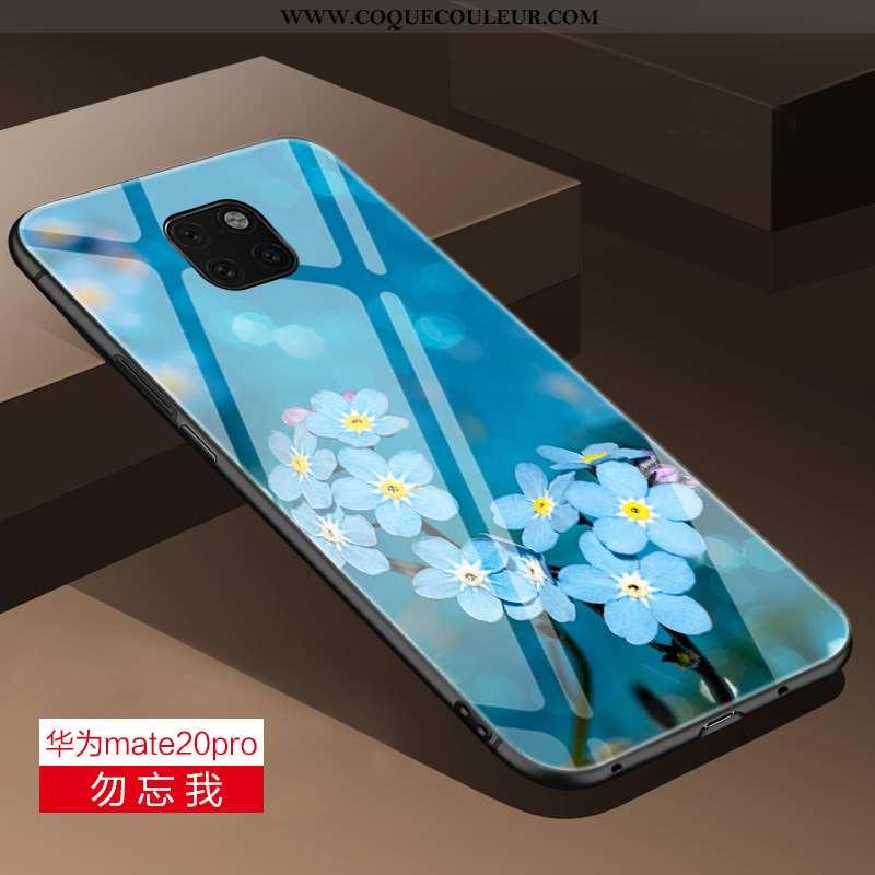Housse Huawei Mate 20 Pro Verre Téléphone Portable Silicone, Étui Huawei Mate 20 Pro Personnalité Bl