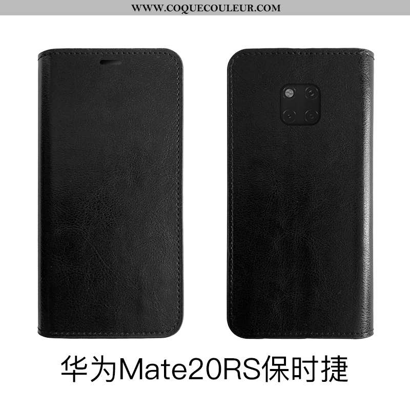 Coque Huawei Mate 20 Rs Protection Housse Noir, Huawei Mate 20 Rs Cuir Véritable Téléphone Portable