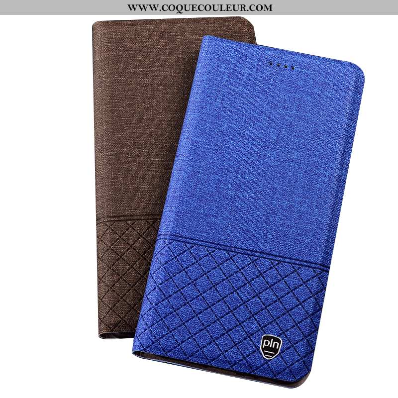Étui Huawei Mate 20 Rs Protection Lin Plaid, Coque Huawei Mate 20 Rs Cuir Tout Compris Bleu