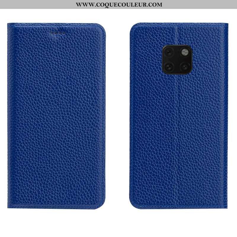 Housse Huawei Mate 20 Rs Protection Incassable Bleu, Étui Huawei Mate 20 Rs Cuir Véritable Cuir Bleu