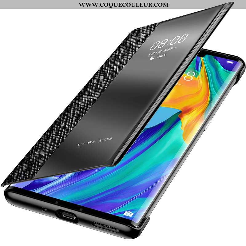 Coque Huawei Mate 20 Rs Ultra Incassable Noir, Housse Huawei Mate 20 Rs Légère Cuir Véritable Noir