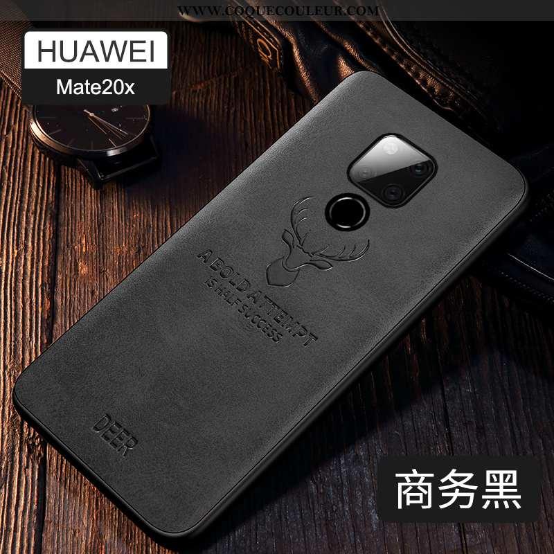 Housse Huawei Mate 20 X Silicone Modèle Fleurie Noir, Étui Huawei Mate 20 X Protection Noir