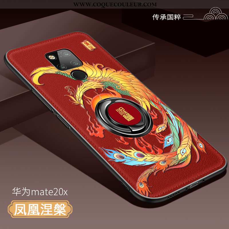 Étui Huawei Mate 20 X Silicone Style Chinois Magnétisme, Coque Huawei Mate 20 X Protection Anneau Ro