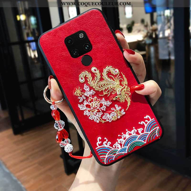 Coque Huawei Mate 20 X Tendance Broderie Rouge, Housse Huawei Mate 20 X Silicone Style Chinois Rouge