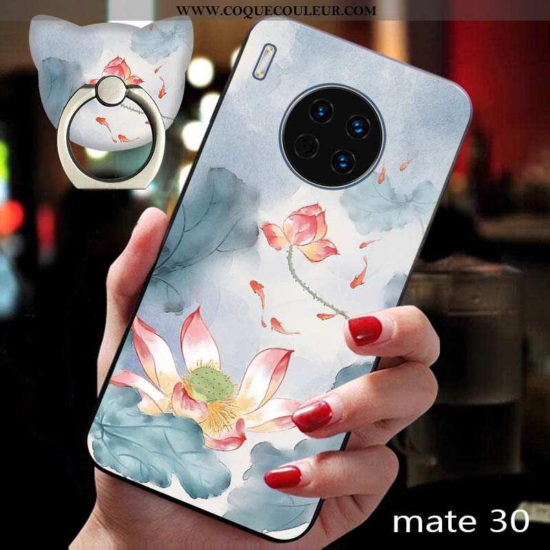 Housse Huawei Mate 30 Gaufrage Étui Téléphone Portable, Huawei Mate 30 Fluide Doux Protection Bleu