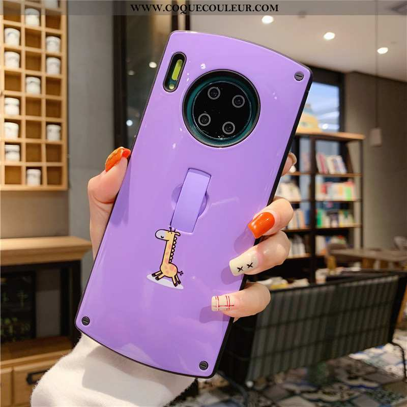 Coque Huawei Mate 30 Vent Téléphone Portable, Housse Huawei Mate 30 Blanc Support Violet