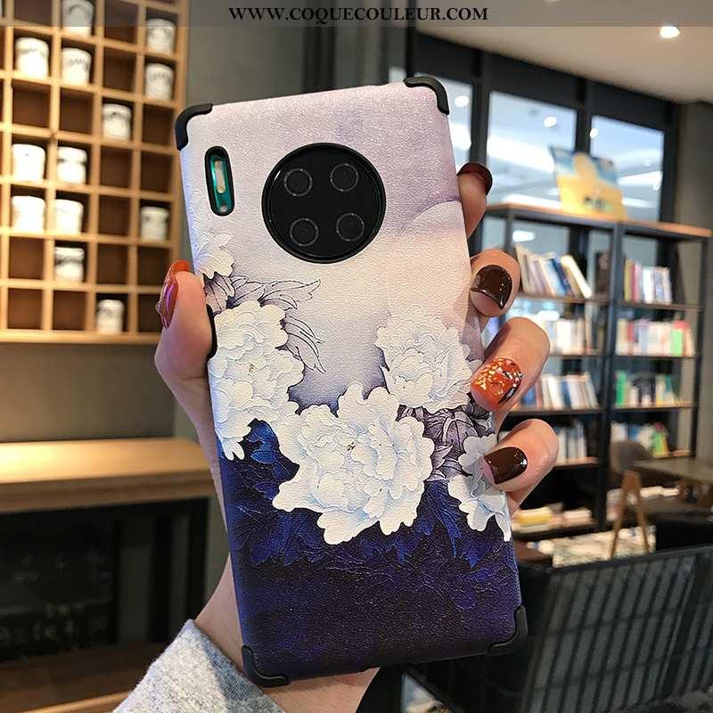 Étui Huawei Mate 30 Tendance Style Chinois Fluide Doux, Coque Huawei Mate 30 Modèle Fleurie Silicone