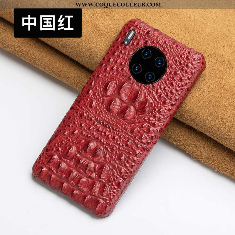Coque Huawei Mate 30 Cuir Qualité Bovins, Housse Huawei Mate 30 Protection Personnalisé Rouge