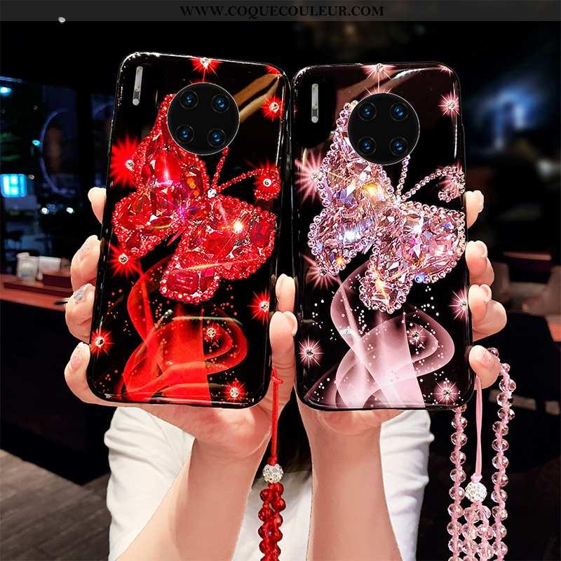 Housse Huawei Mate 30 Strass Téléphone Portable Net Rouge, Étui Huawei Mate 30 Ornements Suspendus C