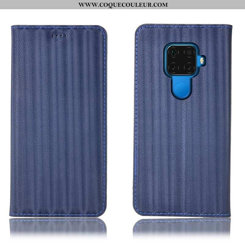 Coque Huawei Mate 30 Lite Modèle Fleurie Bleu Marin, Housse Huawei Mate 30 Lite Protection Étui Bleu