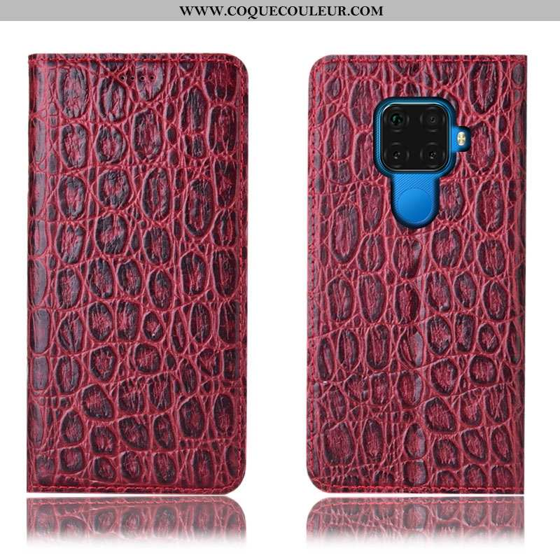 Coque Huawei Mate 30 Lite Cuir Véritable Protection Téléphone Portable, Housse Huawei Mate 30 Lite M