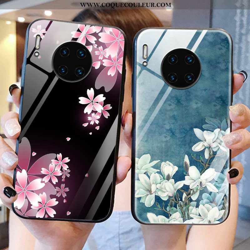 Coque Huawei Mate 30 Pro Légère Verre Fleur, Housse Huawei Mate 30 Pro Protection Miroir Noir