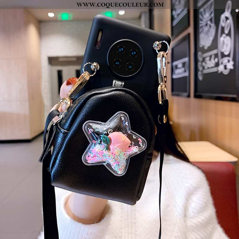 Étui Huawei Mate 30 Pro Ornements Suspendus Cœur Cuir, Coque Huawei Mate 30 Pro Charmant Noir