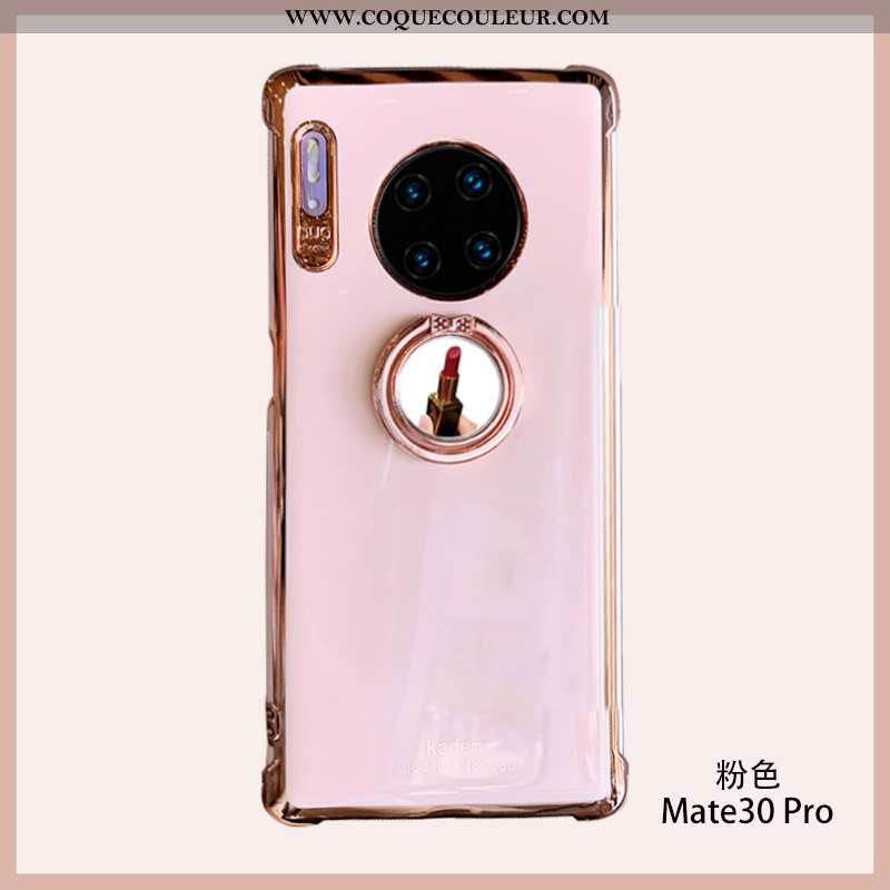Coque Huawei Mate 30 Pro Silicone Cœur Incassable, Housse Huawei Mate 30 Pro Fluide Doux Vent Rose