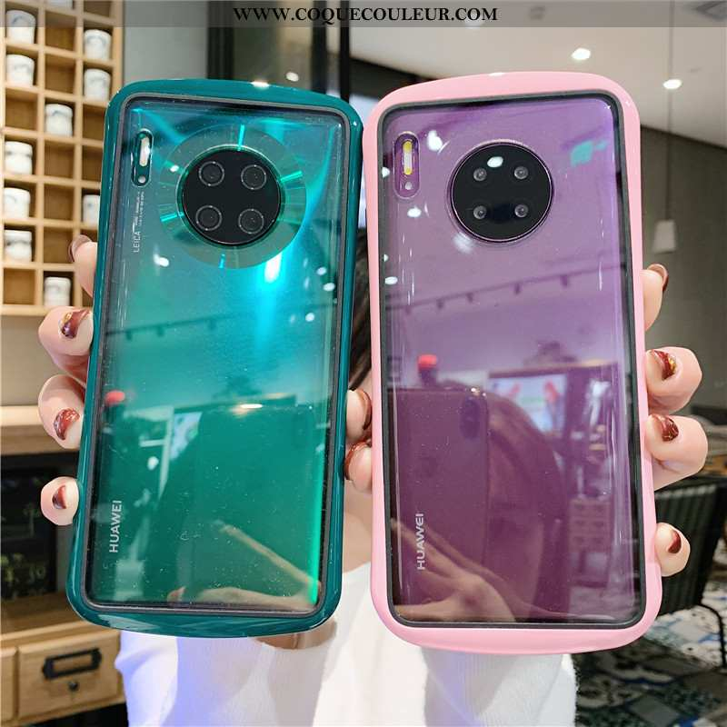 Coque Huawei Mate 30 Pro Transparent Net Rouge, Housse Huawei Mate 30 Pro Créatif Rose