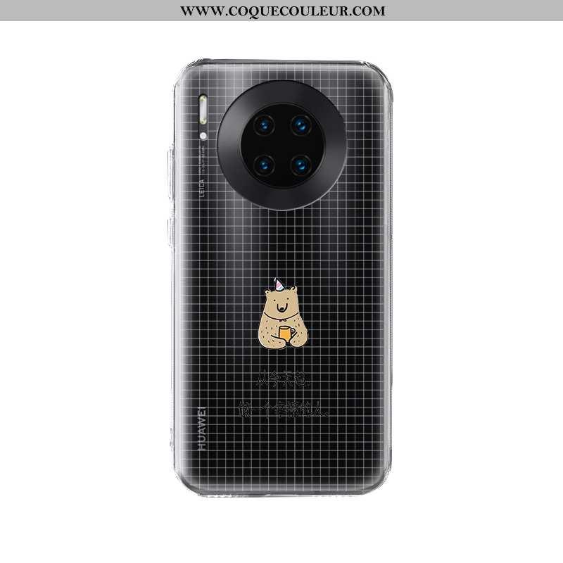 Coque Huawei Mate 30 Pro Transparent Étui Silicone, Housse Huawei Mate 30 Pro Créatif Nouveau Noir