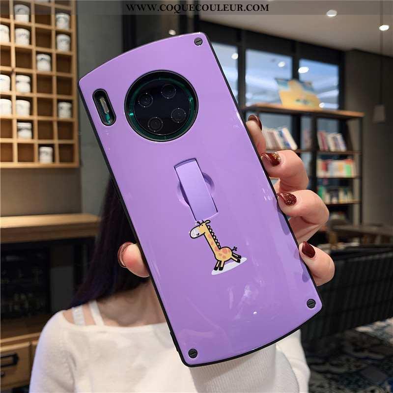 Housse Huawei Mate 30 Pro Téléphone Portable Coque Vent, Étui Huawei Mate 30 Pro Blanc Rond Violet